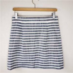 J. Crew Factory | Navy Blue & Cream Striped Skirt